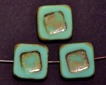 Best.Nr.:671272 Glasperlen / Table Cut Beads türkis, geschliffen mit picasso finish