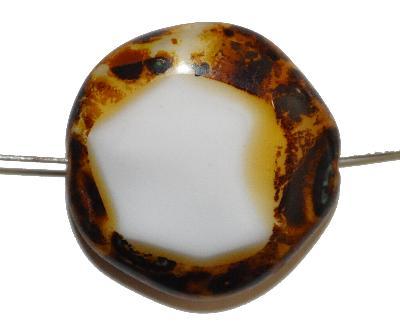 Best.Nr.:671352 Glasperlen geschliffen / Table Cut Beads, Hergestellt in Gablonz / Böhmen, altweiß, mit picasso finish