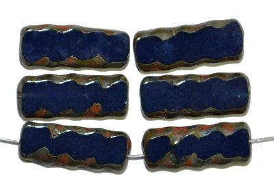 Best.Nr.:671259  Glasperlen / Table Cut Beads,  nachtblau opak,  geschliffen mit picasso finish