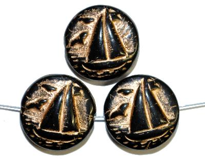 Best.Nr.:59239  Vintagestyle Glasperlen  schwarz opak mit Goldauflage,  nach alten Vorlagen aus den 1940/50 Jahren neu gefertigt in Gablonz / Tschechien