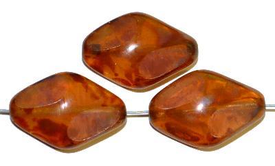 Best.Nr.:671374 Glasperlen / Table Cut Beads  geschliffen,  apricot transp. mit picasso finish, hergestellt in Gablonz / Tschechien