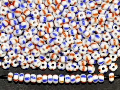 Best.Nr.:13056 Rocailles von Ornella Preciosa Tschechien,  weiß blau rot gestreift