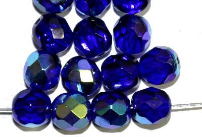 Best.Nr.:28156 facettierte Glasperlen, kobaltblau transp. mit AB, hergestellt in Gablonz / Tschechien