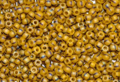 Best.Nr.:14062 Rocailles von Ornella Preciosa Tschechien, gelb schwarz gestreift, mattiert (frostet) und lüster finish