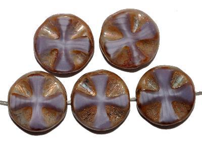 Best.Nr.:67891 Glasperlen / Table Cut Beads Perlettglas violett, geschliffen mit burning silver picasso finish