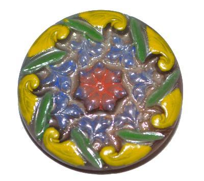 Best.Nr.:43260 Glasknopf, Einzelstück, handgefertigt, handbemalt In Gablonz / Böhmen hergestellt.
