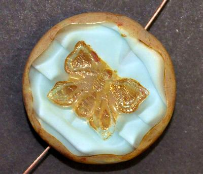 Best.Nr.:671176 Glasperlen / Table Cut Beads hellblaugrau Perlettglas, mit eingeprägtem Schmetterling, geschliffen mit burning silver picasso finish