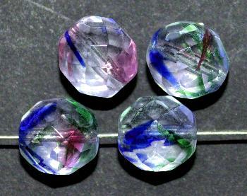 Best.Nr.:27572 facettierte Glasperlen kristall / bunt gestreift