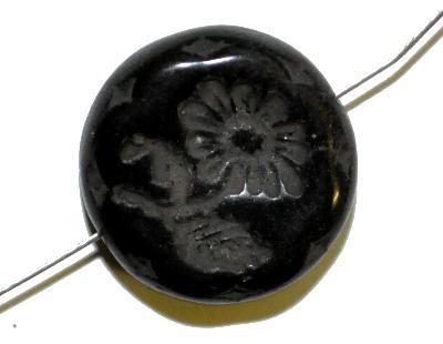 Best.Nr.:59171 vintage style Glasperlen, schwarz opak mit eingeprägter Blüte ,  nach alten Vorlagen aus den 1930 Jahren in Gablonz/Böhmen neu gefertigt,