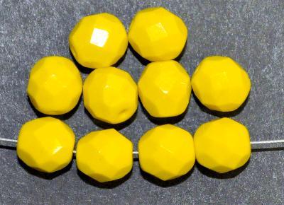 Best.Nr.:26073 facettierte Glasperlen,  gelb opak,  hergestellt in Gablonz / Tschechien