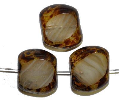 Best.Nr.:67858 Glasperlen / Table Cut Beads geschliffen mit Travertin-Veredelung