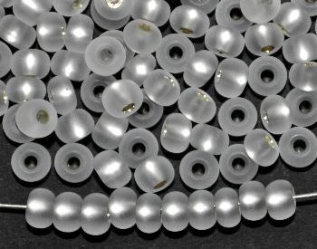 Best.Nr.:14040 Rocailles von Preciosa Tschechien kristall mattiert (frostet) mit Silbereinzug