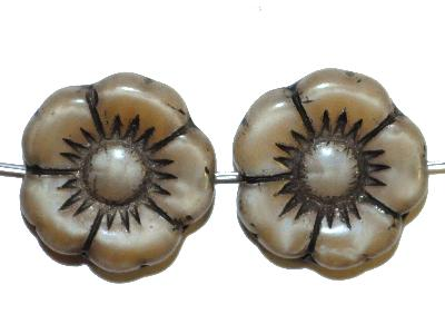 Best.Nr.:50226 Glasperlen Blüte, Perlettglas beige braun, in Gablonz/Böhmen gefertigt,