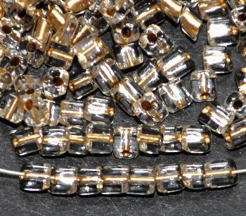Best.Nr.:19314 Glasperlen / cut pipes von Preciosa Ornella Tschechien, mit kristall mit Messingeinzug, Rechteckform abgeschrägten