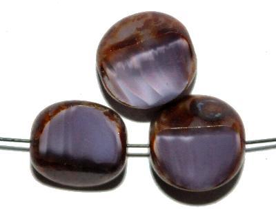 Best.Nr.:671311 Glasperlen / Table Cut Beads geschliffen, Perlettglas violett mit picasso finish, hergestellt in Gablonz / Tschechien