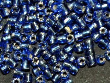 Best.Nr.:18020 3-Cutbeads von Ornella Preciosa Tschechien blau mit Silbereinzug