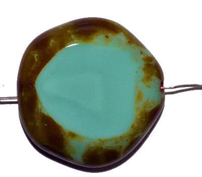 Best.Nr.:65048 Glasperlen geschliffen / Table Cut Beads, türkis opak mit picasso finish, hergestellt in Gablonz / Tschechien