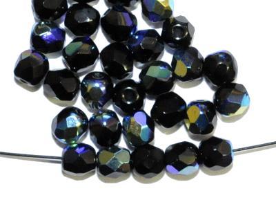 Best.Nr.:28161   facettierte Glasperlen  schwarz mit AB, hergestellt in Gablonz / Tschechien