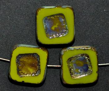 Best.Nr.:671271 Glasperlen / Table Cut Beads oliv, geschliffen mit picasso finish