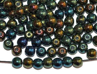 Best.Nr.:22131 Glasperlen rund, mit metallic finish, Hergestellt in Gablonz / Böhmen