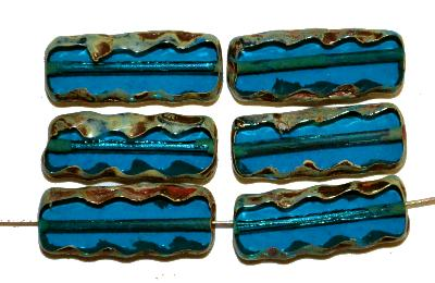Best.Nr.:67668 Glasperlen / Table Cut Beads,  montanablue transp.,  geschliffen mit picasso finish