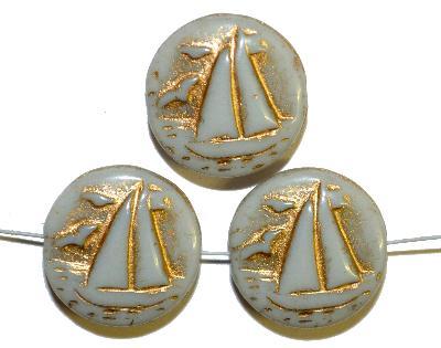 Best.Nr.:59238 Vintagestyle Glasperlen  hellgrau opak mit Goldauflage,  nach alten Vorlagen aus den 1940/50 Jahren neu gefertigt in Gablonz / Tschechien