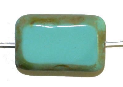 Best.Nr.:67168 große Glasperle / Table Cut Bead  türkis opak / geschliffen  mit picasso finish, hergestellt in Gablonz / Tschechien