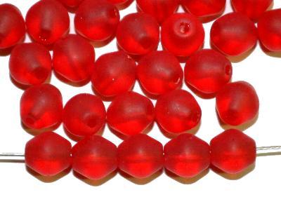Best.Nr.:53010 Glasperlen Doppelkegel,  rot transp. mattiert,  hergestellt in Gablonz / Tschechien