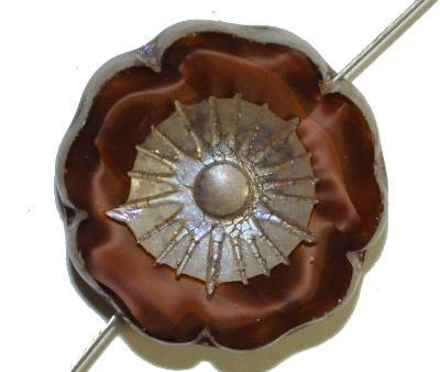 Best.Nr.:67809  Glasperlen / Table Cut Beads,  braun Perlettglas,  geschliffen mit burning silver picasso finish,  hergestellt in Gablonz / Böhmen