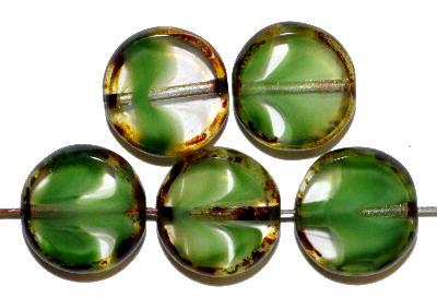 Best.Nr.:67847 Glasperlen / Table Cut Beads grün kristall, geschliffen mit picasso finish