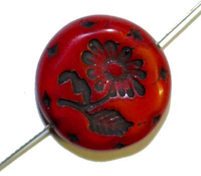 Best.Nr.:59028 vintage style Glasperlen, rot opak mit eingeprägter Blüte ,  nach alten Vorlagen aus den 1930 Jahren in Gablonz/Böhmen neu gefertigt,