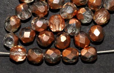 Best.Nr.:28396 facettierte Glasperlen. kristall/eine Seite mit Cupfer Veredelung