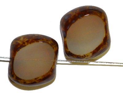 Best.Nr.:67827 Glasperlen / Table Cut Beads geschliffen /Opalglas mit Travertin-Veredelung