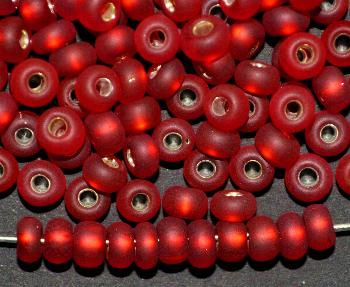 Best.Nr.:14039 Rocailles von Preciosa Tschechien rot mattiert (frostet) mit Silbereinzug