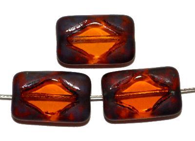 Best.Nr.:671393 Glasperlen / Table Cut Beads geschliffen, topas, mit picasso finish