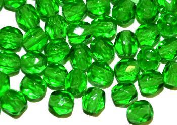 Best.Nr.:27596 facettierte Glasperlen, grün transp., hergestellt in Gablonz / Tschechien