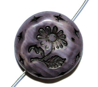 Best.Nr.:59092 vintage style Glasperlen, mit eingeprägter Blüte , nach alten Vorlagen aus den 1930 Jahren in Gablonz/Böhmen neu gefertigt,