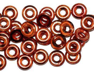 Best.Nr.:52032 Glasperlen Ringe, Spacer, eine Seite mit metallic Veredelung, hergestellt in Gablonz / Tschechien