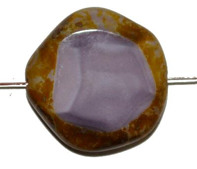 Best.Nr.:67466 Glasperlen geschliffen / Table Cut Beads, violett opak mit picasso finish, hergestellt in Gablonz / Tschechien