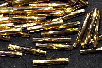 Best.Nr.:21158 Glasperlen / Stiftperlen getwistet, von Preciosa Ornella Tschechien hergestellt, topas mit Silbereinzug