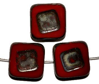 Best.Nr.:671270 Glasperlen / Table Cut Beads dunkelrot opak, geschliffen mit picasso finish