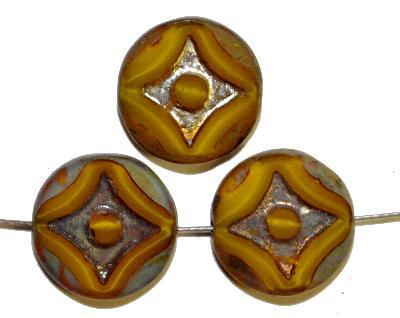 Best.Nr.:671358 Glasperlen / Table Cut Beads gelb Perlettglas, geschliffen mit  burning silver picasso finish