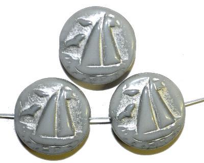 Best.Nr.:59237 Vintagestyle Glasperlen  hellgrau opak mit Silberauflage,  nach alten Vorlagen aus den 1940/50 Jahren neu gefertigt in Gablonz / Tschechien