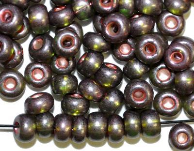 Best.Nr.:12105 Rocailles von Preciosa Tschechien,  oliv transp. lüster mattiert mit Silber-Kupfereinzug,