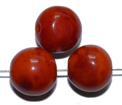 Best.Nr.:63892 Glasperlen rund, 1920/30 in Gablonz/Böhmen hergestellt, rot / orange meliert