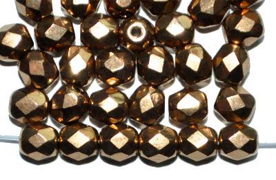 Best.Nr.:28324 facettierte Glasperlen,  hellmessig metallic finish,  hergestellt in Gablonz / Böhmen