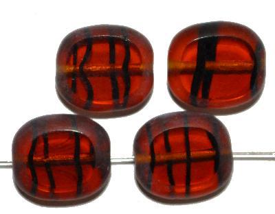 Best.Nr.:67692 Glasperlen / Table Cut Beads geschliffen, topas gestreift, Rand mattiert