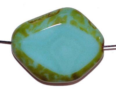 Best.Nr.:671340 Glasperlen geschliffen / Table Cut Beads, Hergestellt in Gablonz / Böhmen, türkis opak, mit picasso finish