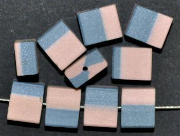 Best.Nr.:75018 vintage Keramikperlen, mattiert um 1960 in Gablonz/Böhmen hergestellt, Rechteck, puder / blau