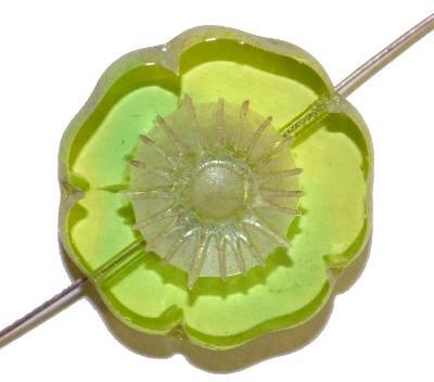Best.Nr.:671305 Glasperlen / Table Cut Beads,  grün transp.,  geschliffen mit lüster finish,  hergestellt in Gablonz / Böhmen